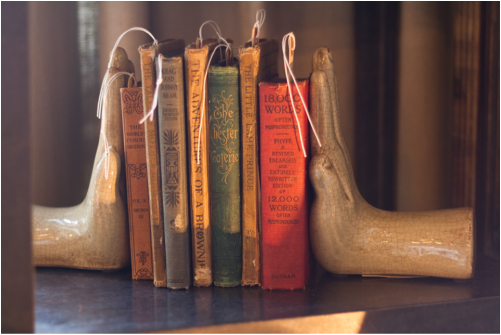 Antique books, hand bookends